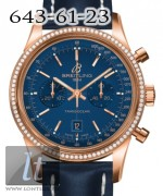Breitling Transocean Chronograph 38 RG Diamond Blue Dial Leather Strap 2013 R4131053/C863-113X