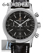 Breitling Transocean Chronograph 38 Diamond Black Dial Crocodile Leather 2013 A4131063/BC06-729P