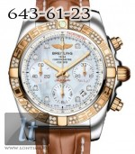 Breitling Chronomat 41 Steel 18K rose gold Pearl Diamond dial Crocodile Leather Brown cb0140aa/a723-2ct