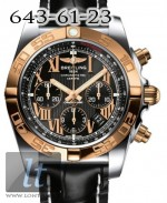 Breitling Chronomat 44 Steel Rose Gold Onyx black dial Croco Leather strap CB011012/b957-1cd