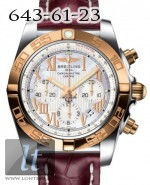 Breitling Chronomat 44 Steel Rose Gold Pearl dial Croco Leather strap CB011012/a693-1ct