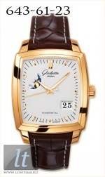 Glashutte Original Senator Karree Panorama Date with Moon Phase (RG / Silver / Leather) 39-41-51-51-05