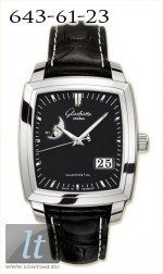 Glashutte Original Senator Karree Panorama Date with Moon Phase (SS / Black / Leather) 39-41-54-52-05
