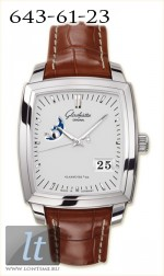 Glashutte Original Senator Karree Panorama Date with Moon Phase (SS / Silver / Leather) 39-41-53-52-05